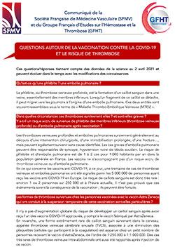 Questions autour de la vaccination contre la COVID-19 et le risque de Thrombose