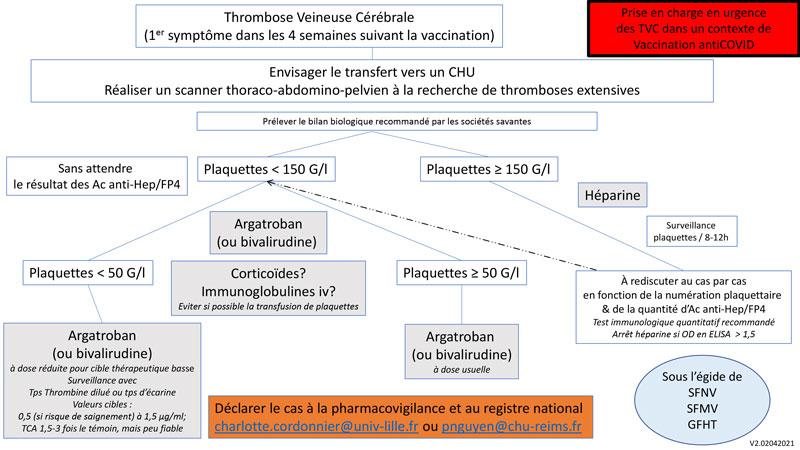 Prise en charge en urgence des thromboses veineuses cérébrales (TVC) dans un contexte de vaccination contre la COVID-19